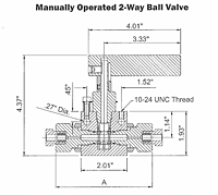 2-Way Ball Valve Dimensional Diagram