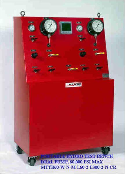 MTTB60-W-N-M-L60-L300-2-N-CR, Portable Hydro Test Bench Dual Pump