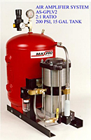 Air Amplifier System, 2:1 Ratio, 200 psi, 15 Gal Tank - AS-GPLV2