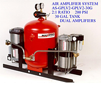 Air Amplifier System, 2:1 Ratio, 200 psi, 30 Gal Tank, Dual Amplifiers