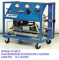Gas Booster System on Casters, 6,000 psi, 75:1 Ratio